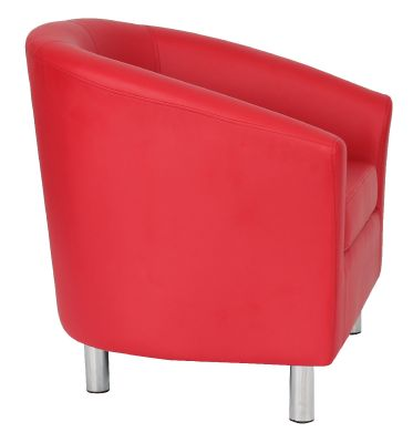 Tritium Red Leather Tub Chair With Chrome Feet Side View