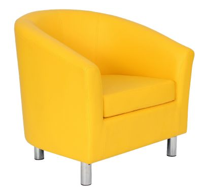 Tritium Tub Chair In Yellow With Chrome Feet Front Angle View