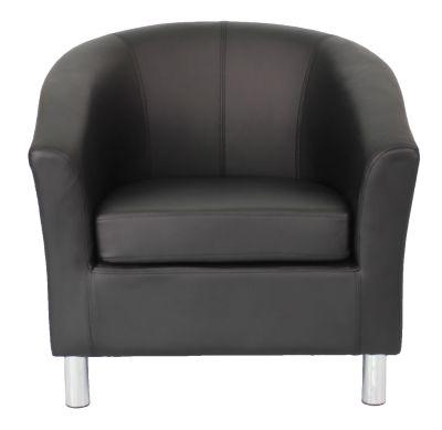 Tritium V2 Tub Chair Black Leather Chrome Feet Front View