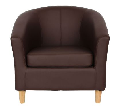Tritium Brown Leather Tub Chair With Wooden Feet Face View
