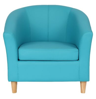 Tritium Light Blue Leather Tub Chair With Wooden Feet Front View