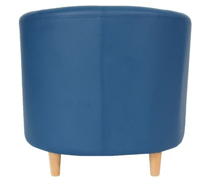 Tritium Navy Blue Leather Tub Chairs Rear Angle