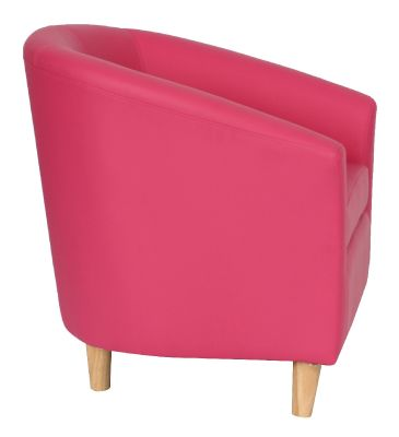 Tritium Pink Tub Chair With Wooden Feet Side View