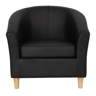 Tritium Tub Chair Black With Wooden Legs Front View