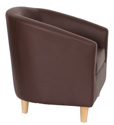 Tritium Tub Chair In Brown With Wooden Kfeet Side View
