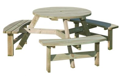 Plymouth Six Seater Round Picnic Table