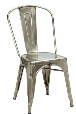 Tolix V2 Side Chair With Weld Marks And A Gun Metal Finish
