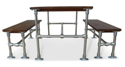 Scaffold Sawn Timber Dining Set Side View