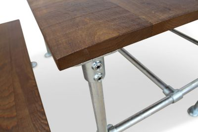 Scaffold Sawn Timber Dining Set Detail View