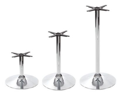 Chrome Trumpet Style Table Bases For Use With Large Tops