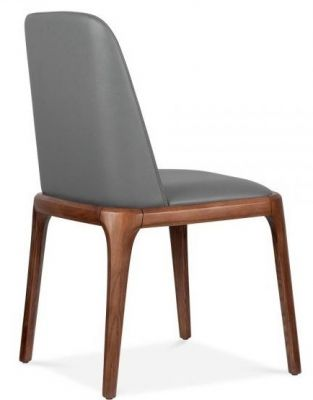 Cafe Restaurant Grey Leather Dining Chair Alfonso