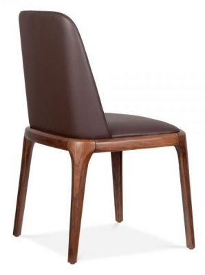 Brown Leather Dining Chair Walnut