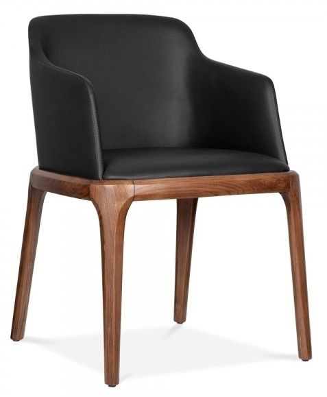 Leather dining chairs with arms black alfonso cafe reality for Black dining chairs with arms
