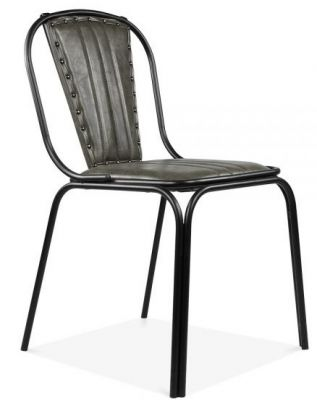 Grey Leather Studded Designer Dining Chairs