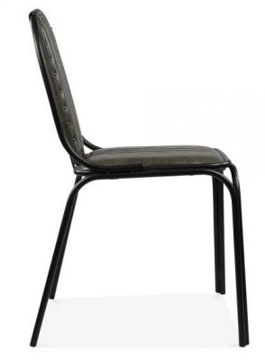 Steel Frame Dining Chair Grey Leather Detail