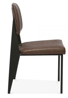 Brown Leather Dining Chair Studded