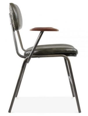 Designer Leather Dining Chair Black Arms