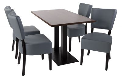 Rosie V4 Dining Set With Pewter Leather Chairs