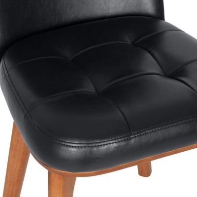 Black Leather Designer Dining Chair Alba