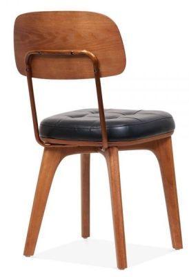 Walnut Black Designer Vintage Leather Dining Chair