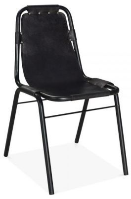 Designer Leather Dining Chair Black Distressed Goat