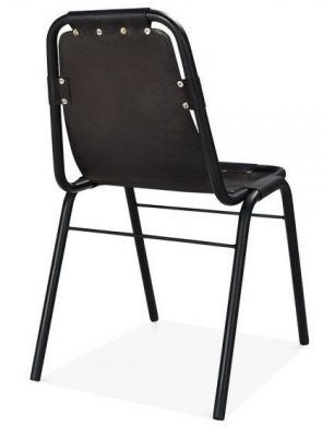 Designer Industrial Black Leather Dining Chair