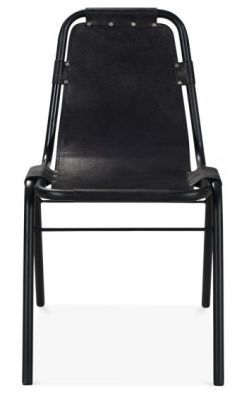Black Leather Distressed Industrial Dining Chair