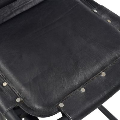 Distressed Leather Black Dining Chair