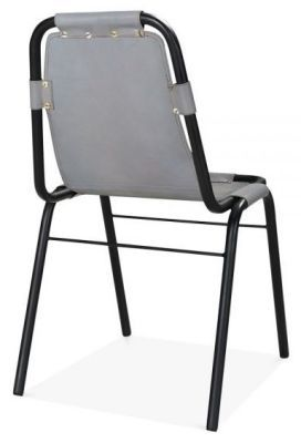Industrial Grey Leather Dining Chair Iron Black Frame