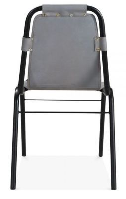 Iron Frame Genuine Grey Leather Dining Chair