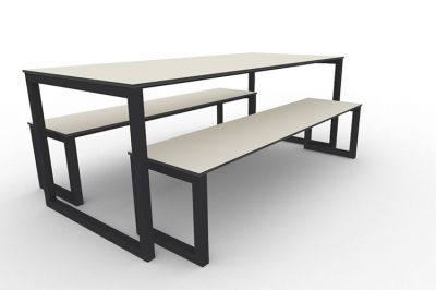 Benny Bench Table Set Outdoors Anthracite
