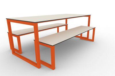 Benny Bench Table Set Outdoors Orange