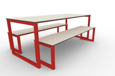 Benny Bench Table Set Outdoors Red