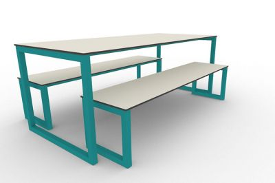 Benny Bench Table Set Outdoors Turquiose