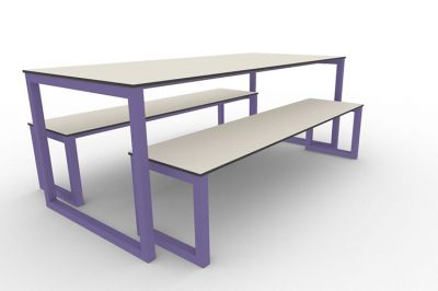 Benny Bench Table Set Outdoors Violet