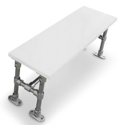 Durban Scaffold Dining Height Bench- Laminate Top Grey