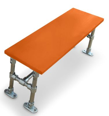 Durban Scaffold Dining Height Bench- Laminate Top Orange