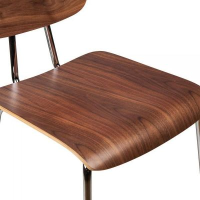 Walnut Designer Chrome Cafe Chair