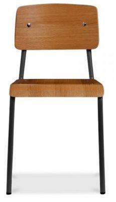 Designer Plywood Black Frame Steel Chair