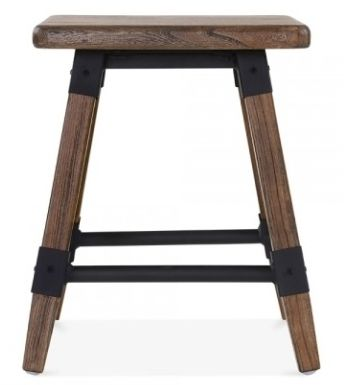 Brown Finish Low Wooden Stool Tryian