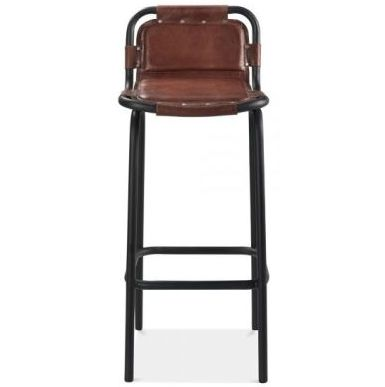 Front Industry Leather Bar Stool Brown