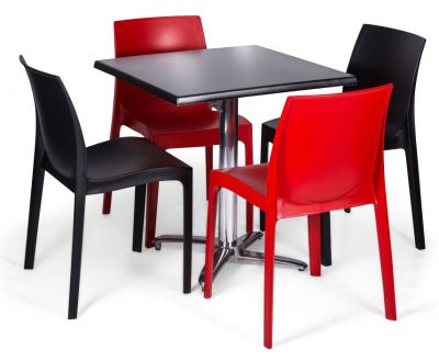 Moby Outdoor Dining Bistro Set - 4 Red Black