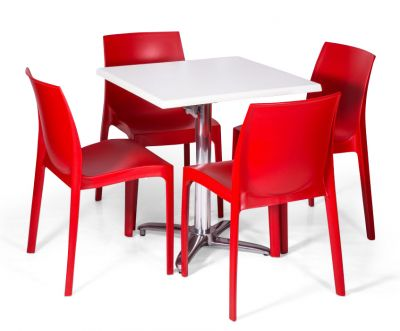 Moby Outdoor Dining Bistro Set - 4 Red