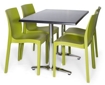 Moby Outdoor Rectangular Dining Bistro Set - 5 Green