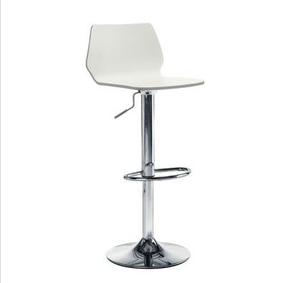 Bianca White Chrome Height Adjustable Bar Stool