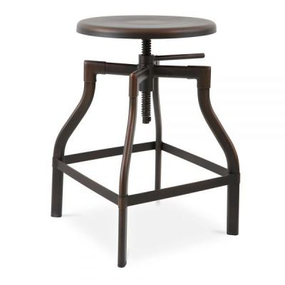 Machinist Height Adjustable Bar Stool Antique Brown