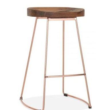 Designer Goa Bar Stool Walnut Copper