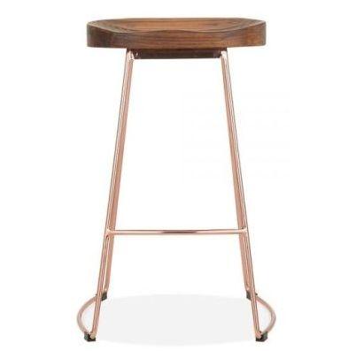 Goa Designer Bar Stool Walnut Copper
