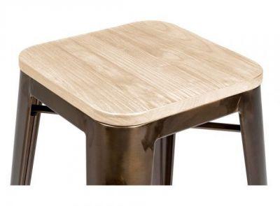 Xavier Pauchard Stool Bronze Wood Seat