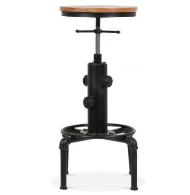 Designer Bar Stool Nikolaus Wood Seat Round